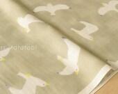 Japanese Fabric Kokka Trefle Birds double gauze - C - 50cm