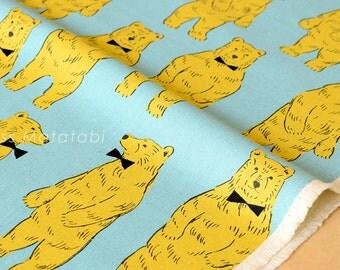 Japanese Fabric Kokka Nordic bears - yellow, aqua - fat quarter
