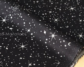 Japanese Fabric metallic stars in space - silver, black - 50cm