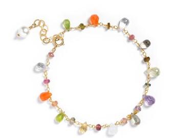 Multi-gemstone Bracelet in 14k GF. Single Strand - Periodot, Moonstone, Carnelian, Amethyst & More