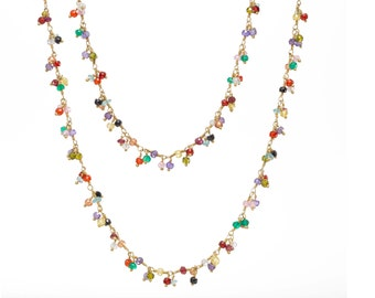 Multi-colored Cubic Zirconia Stone Cluster Necklace, CZ, Long, Double Wrap Mothers Day Gifts, Graduation Gifts, Colorful