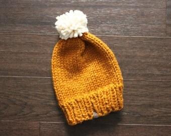 Adult Ski Hat, THE TAHOE, Orange Hat, Chunky Knit Hat, Cozy Hat, Ski Hat, Adult Hat, Chunky Knits, Chunky Knit Hat, Chunky Beanie