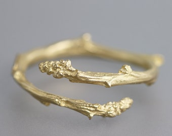 Yellow Gold Twig Bypass Ring - 14k Yellow Gold Ring - Thin Delicate Twig - Twig Wedding Band - Branch Ring - Twig Jewelry - Made to Order