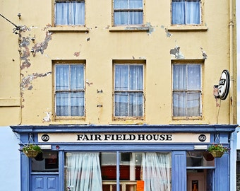 Colorful Store Front, Co CORK, Skibbereen, IRELAND Photo, Irish Shop, Fairfield House, Irish Pub,Blue and Yellow, Irish Photo Card,Pub Decor