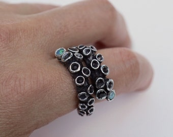 Octopus Tentacle Ring Sterling Silver Octopus Ring adjustable design with sapphires and opal triplet  by Zulasurfing