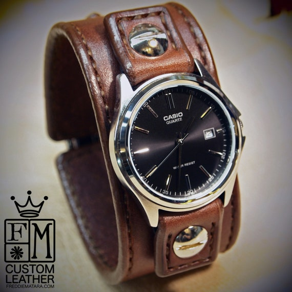 Leather cuff Watch -Brown bridle leather handstitched watch band with Casio watch custom made for YOU in Brooklyn NY