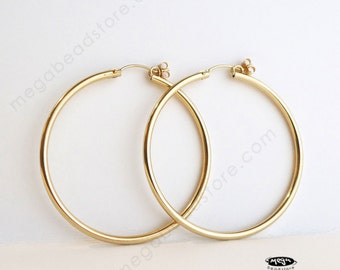 "50mm (1.97"") 2mm Thick 14K Gold Filled Hoop Earrings Earwires F23GF"