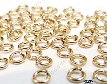 100 pcs 3mm 22 Gauge Jump Rings 14/20 Gold Filled Open F29GF