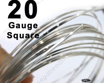 10 feet 20 Gauge SQUARE 925 Sterling Silver Wire Half Hard (HH)