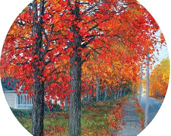 "Glass Cutting Board with Red Fall Trees from an Original Oil Painting - 12"" Round"