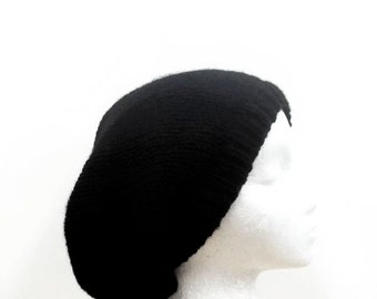 Black slouchy beanie handmade for men or women  5085