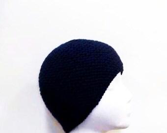 Navy blue skullcap beanie hat, warm beanie, handmade   4913