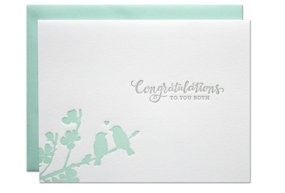 Love Birds Wedding Letterpress Card