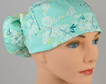 The Perfect Fit Ponytail Scrub Hat Original Design Best Fit Ever Pony Pouch- Cotton Blossom
