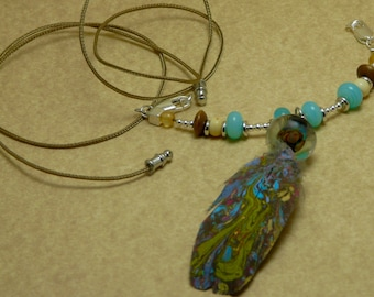 Handmade Marbled African Grey Feather Necklace with Lampwork