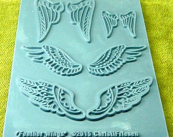Christi Friesen Feather Wings Texture Embossing Tile Stamp Clay, Inks Paint