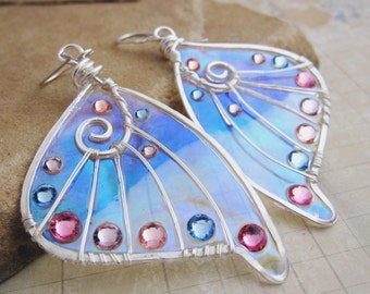 Sihaya Designs Faery Wing Earrings - Will O' The Wisp - Iridescent Fairy Wing Jewelry