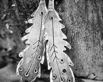 Folk Feather Earrings, Sterling Silver