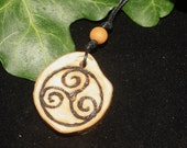 Ash Wood Triskelion pendant - World Tree - Wiccan, Witchcraft, Pagan