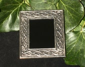 Celtic Knotwork Black Scrying Mirror For Divination  - Pagan, Wicca, Witchcraft, Ritual, Magic - Upcycled Frame