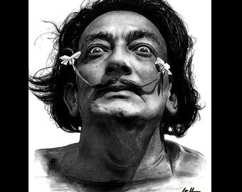 "Print 8x10"" - Salvador Dali - Surreal Artist Mustache Blue Red Spanish Spain Frida Kahlo Abstract Fantasy Absinthe Pop Art Dreaming"