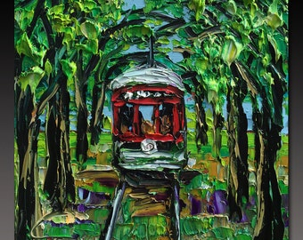 NEW ORLEANS Painting B. Sasik Original Oil  Painting of New Orleans Trolley Palette Knife Painting