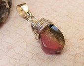 Tourmaline Pendant, Watermelon Sterling Silver Tourmaline Pendant, Petite Tri-Color Tourmaline Necklace Pendant