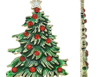 1pc 69x44mm metal Christmas tree pendant with enamel-8292k
