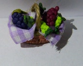 Realistic food Miniature Basket FULL of Fresh Fruit Dolls House Miniature Food diorama ooak art PR# 390