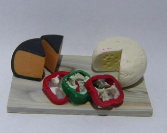 Handcrafted Miniature Polymer Clay cheese party platters dollhouse scale