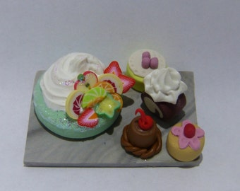 sweets and cake Handcrafted Miniature Polymer Clay party platters dollhouse scale