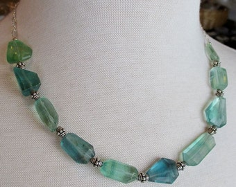 Blue and Green Fluorite Sterling Silver Necklace