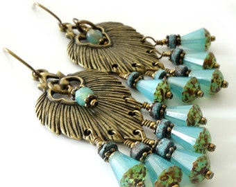 Turquoise Feather Earrings, Antique Brass Feathers, Turquoise Picasso Glass Drops, Beaded Jewelry, Beaded Earrings, OOAK