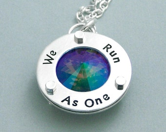 We Run As One - Swarovski Crystal Necklace - Hand Stamped Sterling Silver - Motivational Agility Jewelry - Paradise Shine