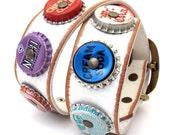Rustic White Leather Dog Collar with Vintage Soda Pop Bottle Caps, Size L/XL to fit a 19-23in Neck, EcoFriendly, OOAK