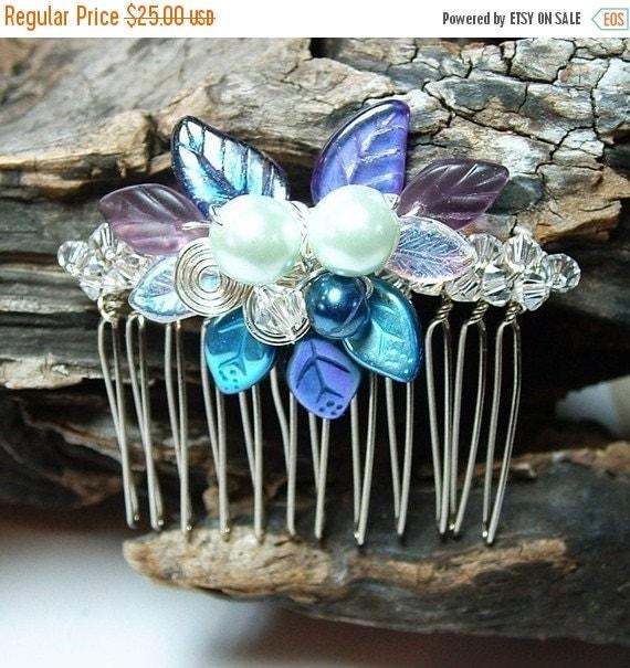 ON SALE Wedding Hair Comb Moonlight Blue Fairy Bower