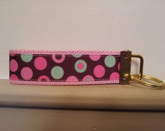 4 1/2 inch Pink, Brown and Min green polka dot  Key Fob
