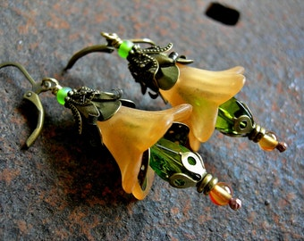 End of Summer, Flower Blossom Earrings, Elksong Jewelry, Melon & Lime, Faery Couture, Victorian Inspired, Dramatic Flowers, Fairy Flowers