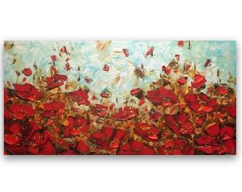 Landscape Oil Painting Original Art Red Poppy Palette Knife Wall Art Flowers Painting Impasto Texture Modern Floral Art by Susanna