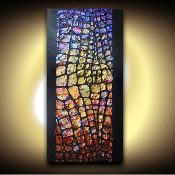 Textured ORIGINAL Abstract Oil Painting Black and MultiColored Art by Susanna Made2order