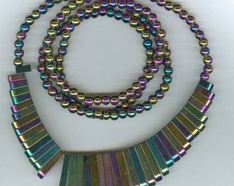 CLEARANCE Rainbow Hematite Maxi Cleopatra Collar Fan 41pc Bead Set with 6mm Round Beads