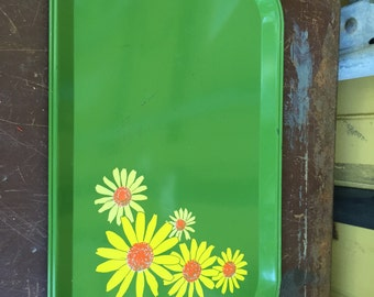 Vintage Green Metal  Serving Tray with Yellow Flower