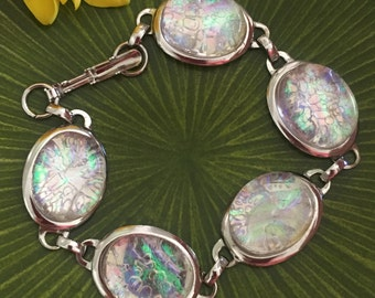 "Clear Green Fused Dichroic Art Glass Jewelry Link Bracelet 7"" FREE shipping"