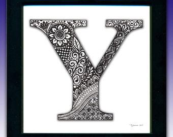 Framed 'Y' Monogram Print