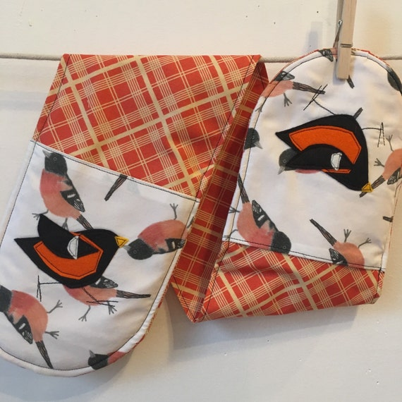 Baltimore Oriole Double Oven Mitts with Felt Applique birdy birds