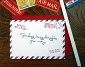 letterpress airmail sending loving thoughts your way sympathy greeting card red & navy handle with care fragile postmarks