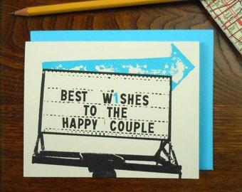 letterpress vintage wedding arrow greeting card blue best wishes to the happy couple arrow sign roadside americana arrow