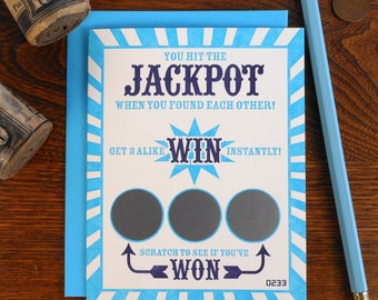 letterpress you hit the jackpot when you found each other greeting card lotto gambling win wedding anniversary scratch off lucky in love