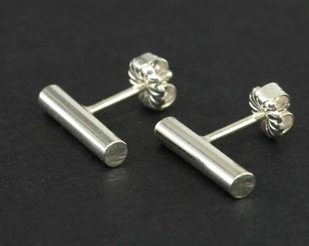Polished Sterling Studs, Silver Stick Stud Earrings, Sterling Stud Earrings