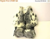 20 % off Fall Sale Baby Photo Prop - Luxurious Silver Lynx Faux Fur Baby Vest & Fur Baby Boots Baby Gift Set for Babies. Size  0-3-6-9-12 mo